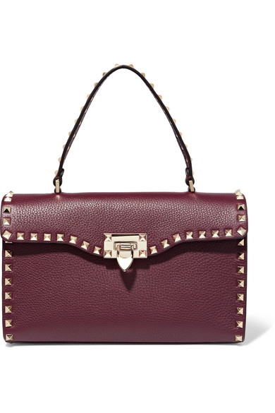 Valentino - The Rockstud Textured-leather Tote - Burgundy