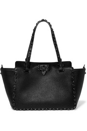 Valentino Garavani The Rockstud textured-leather trapeze bag