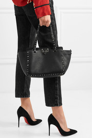 The Rockstud textured-leather trapeze bag