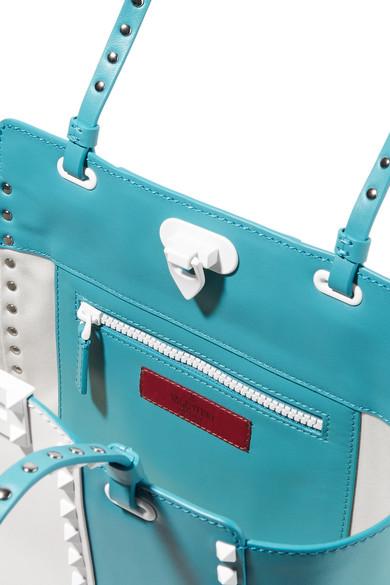 Valentino Rockstud zweifarbige trapezförmige Tasche aus Leder