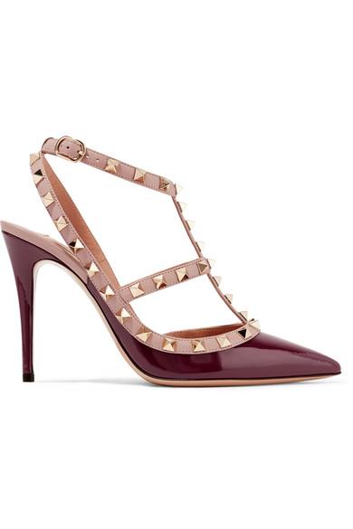 Valentino - The Rockstud Patent-leather Pumps - Merlot