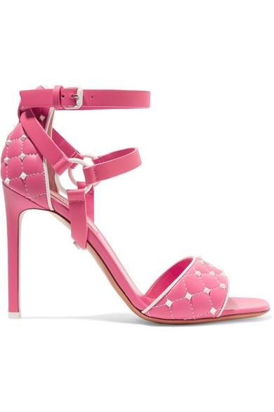 Valentino The Rockstud Sandalen aus gestepptem Leder Niedrig Kosten Günstig Online o0wCeo65Hj