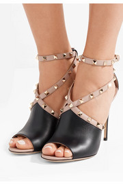 Rockstud two-tone leather sandals