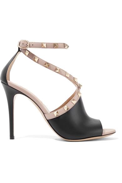 Rockstud Peep Toe Sandal, Black/ Beige