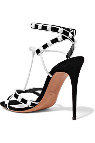 Valentino Rockstud Sandalen aus Veloursleder und Leder mit Nieten