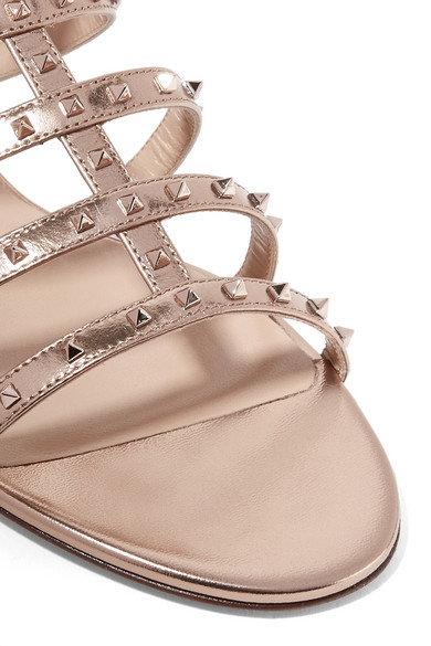 bf093bbb905d Valentino Garavani Lovestud metallic leather sandals.  747. Play