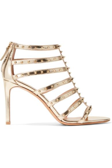 Lovestud Heel Sandals, Gold