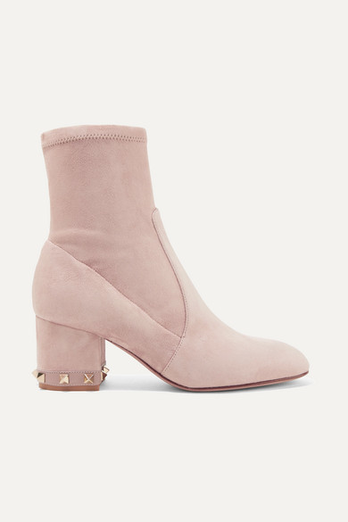 Rockstud Suede Ankle Boots in Blush