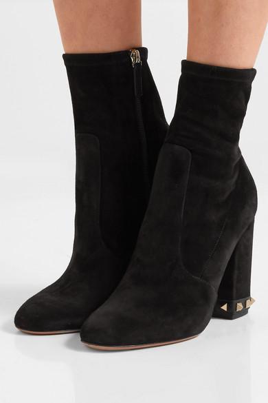 75e0e083981cb Valentino | Valentino Garavani The Rockstud suede ankle boots | NET ...