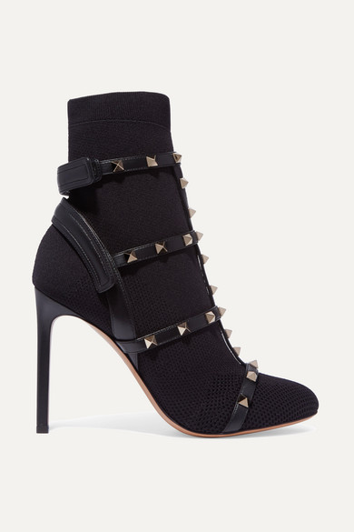 Valentino The Rockstud Sock Boots aus Stretch-Strick mit Lederbesatz