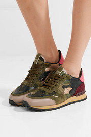 Leather and suede-trimmed camouflage-print canvas sneakers