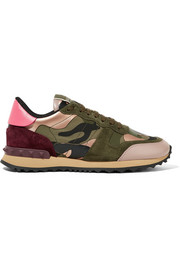 Valentino Valentino Garavani leather and suede-trimmed camouflage-print canvas sneakers