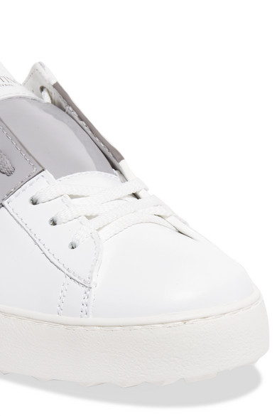 Valentino Patent Leather Sneakers In Leather With Inserts From