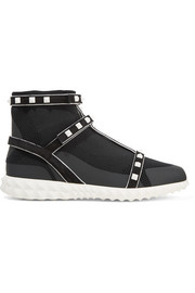 Valentino Rockstud Bodytech suede-trimmed paneled stretch-knit sneakers