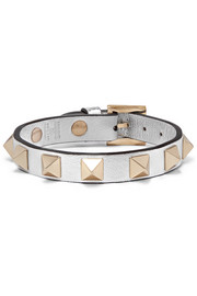 Rockstud metallic textured-leather bracelet