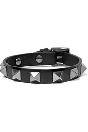 The Rockstud leather and silver-tone bracelet