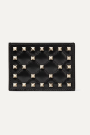 Valentino Garavani The Rockstud quilted leather cardholder