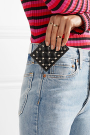 Rockstud quilted leather cardholder