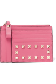 Rockstud textured-leather wallet