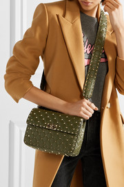 Valentino The Rockstud Spike matelassé embellished quilted leather bag strap