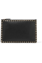 Valentino Rockstud textured-leather pouch