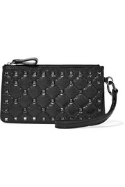 Valentino Valentino Garavani The Rockstud quilted cracked-leather pouch