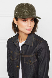 Valentino Rockstud quilted leather baseball cap