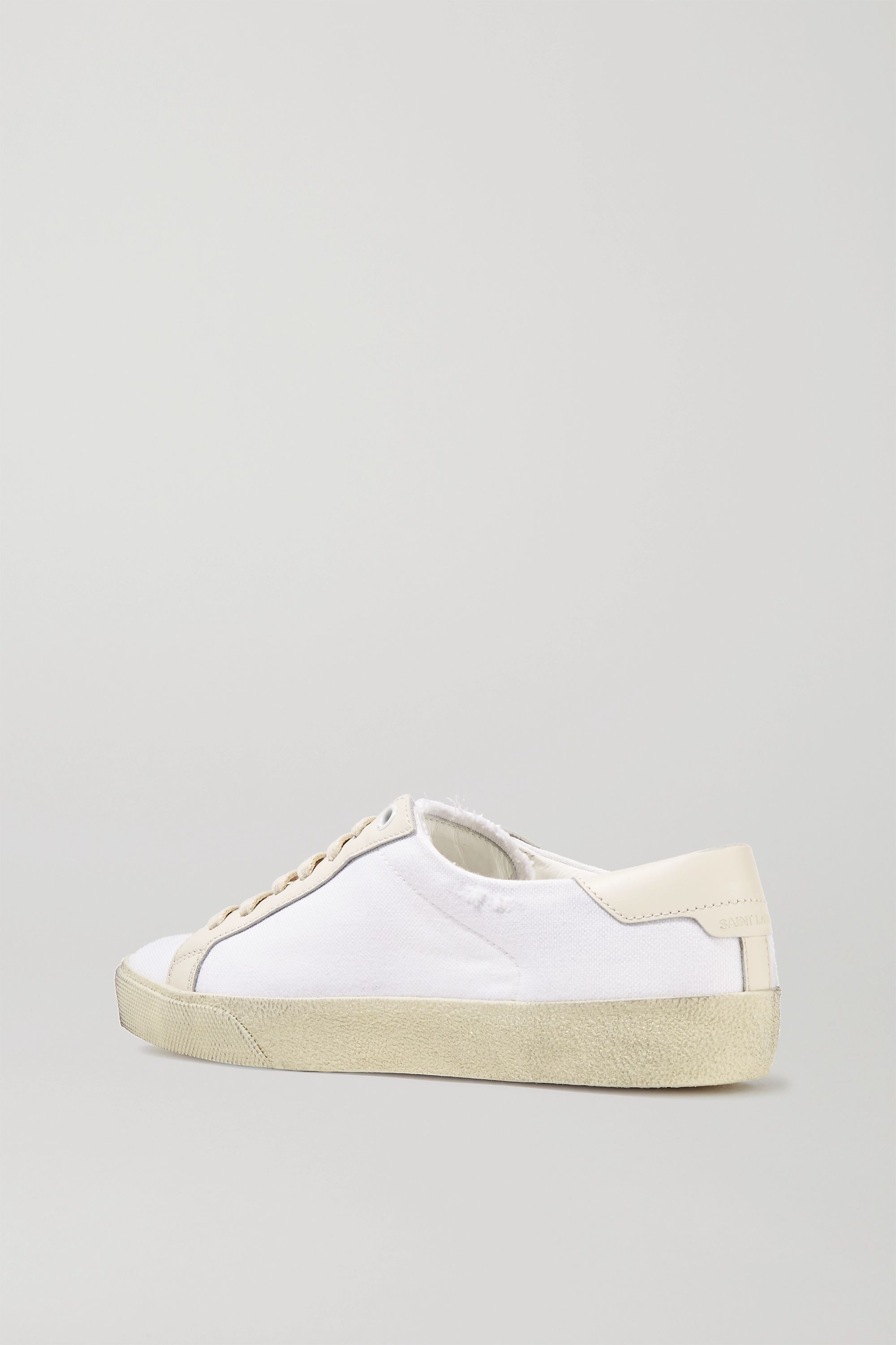 SAINT LAURENT Court Classic leather-trimmed logo-embroidered distressed canvas sneakers