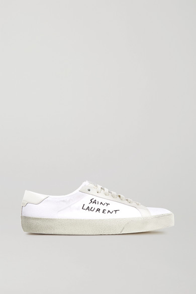 Saint Laurent | Court Classic logo-embroidered leather and distressed  cotton-canvas sneakers | NET-A-PORTER.COM