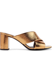 Saint Laurent Loulou metallic cracked-leather mules