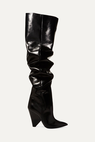 Niki Glossed Leather Over The Knee Boots by Saint Laurent