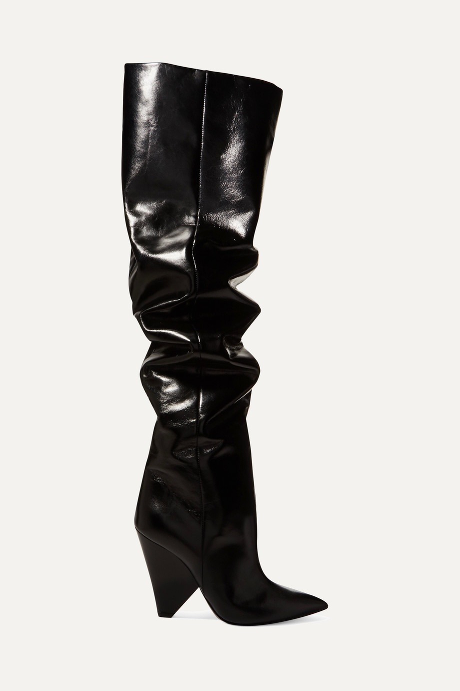 Niki glossed-leather over-the-knee boots