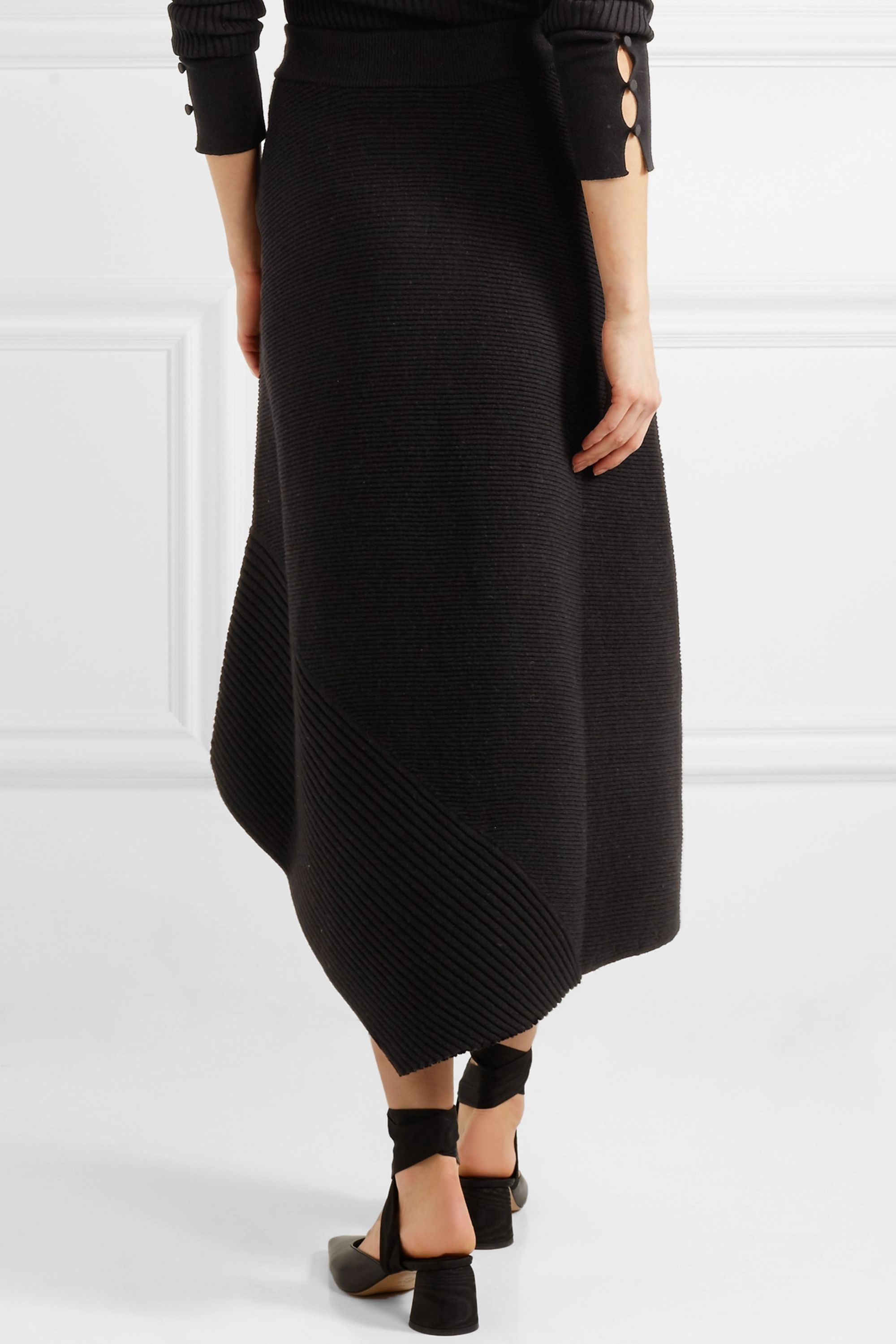 Elizabeth and James Viona asymmetric ribbed merino wool-blend midi skirt