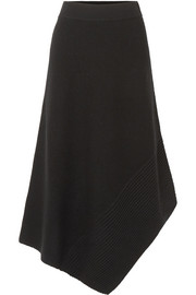 Viona asymmetric ribbed merino wool-blend midi skirt