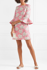 Ruffled floral-print wool and silk-blend mini dress