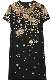 Valentino Sequin-embellished wool and silk-blend mini dress