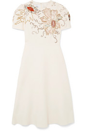Valentino Embellished wool and silk-blend crepe dress