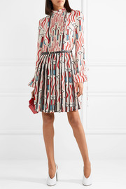 Valentino Lace-trimmed printed silk crepe de chine mini dress