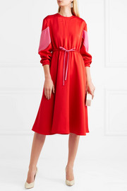 Silk-blend ottoman midi dress