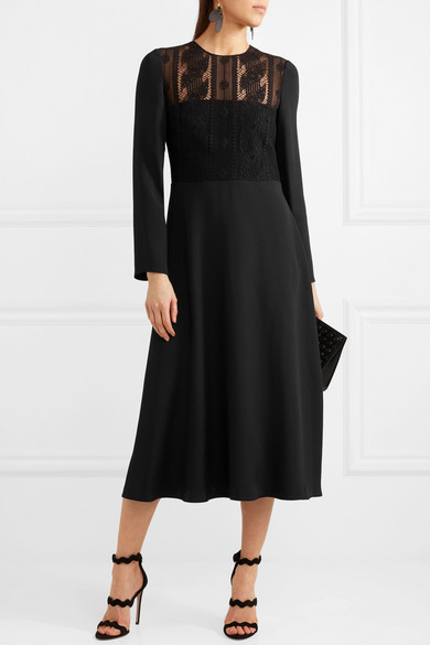 Corded Cotton-blend Lace And Silk Midi Dress - Black Valentino v46EiR