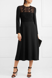 Valentino Corded cotton-blend lace and silk midi dress