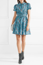 Valentino Smocked printed cotton-poplin mini dress