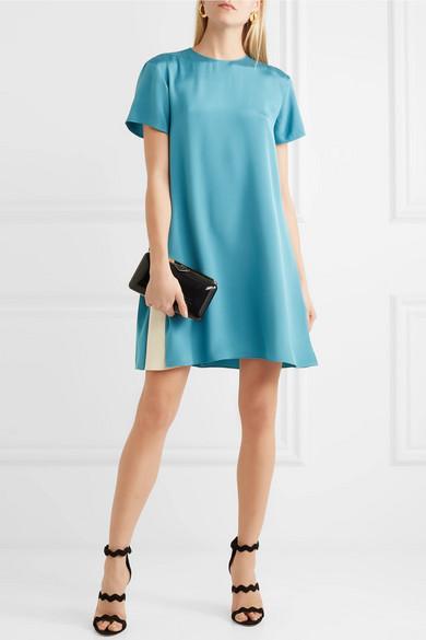 Valentino Zweifarbiges Minikleid aus Seidensatin