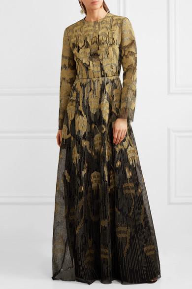 Valentino Bestickte Robe aus einer Wollmischung und Tüll in Metallic-Optik
