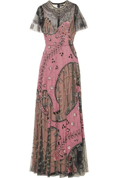Valentino Verzierte Robe aus Seidenchiffon und Tüll