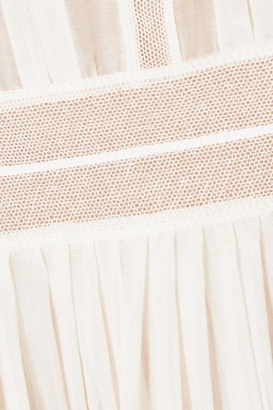 Valentino Robe aus Voile aus einer Baumwoll-Seidenmischung mit Biesen und Tüllbesatz