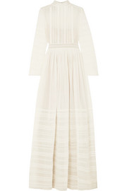 Valentino Tulle-trimmed pintucked cotton and silk-blend voile gown