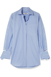 Cutout striped cotton-poplin shirt