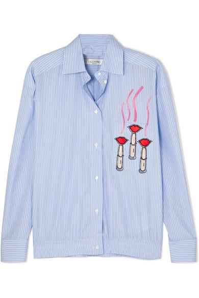 Valentino Verziertes Hemd aus gestreifter Baumwollpopeline mit Applikationen