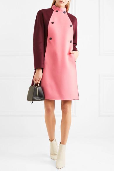 Valentino Zweifarbiger doppelreihiger Mantel aus Filz aus einer Woll-Kaschmirmischung
